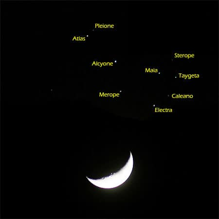 de maan en de pleiaden, met Alcyone