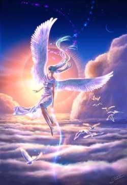 Engel met vogels