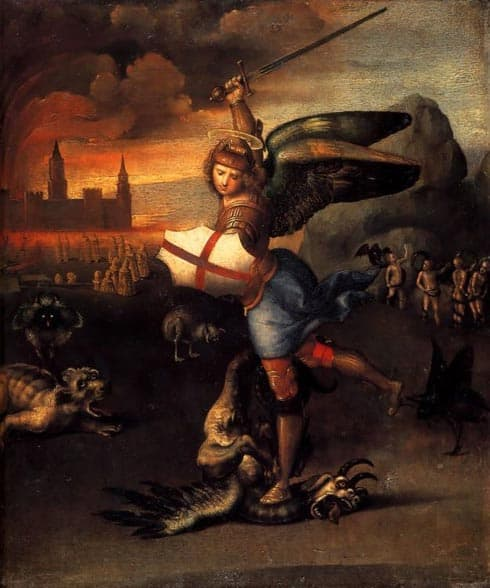 Aartsengel Michael verslaat de draak , een schilderij van Raphael