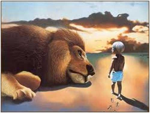 grote leeuw-jongetje