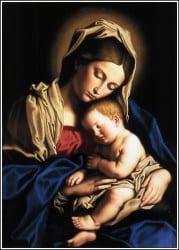 klassiek beeld van moeder Maria en het kindje Jezus