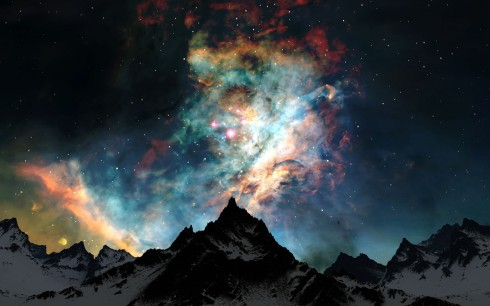 Mountains-Clouds-Nature-Snow-Outer-Space-Night-Stars-Colors
