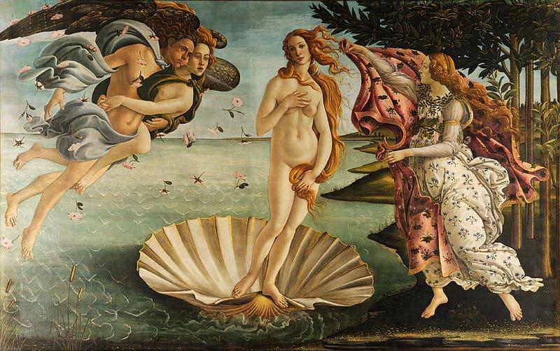 De geboorte van Venus, door Sandro Botticelli c. 1485–1486.