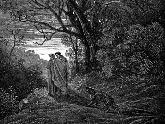 Dante begint zijn tocht door de hel